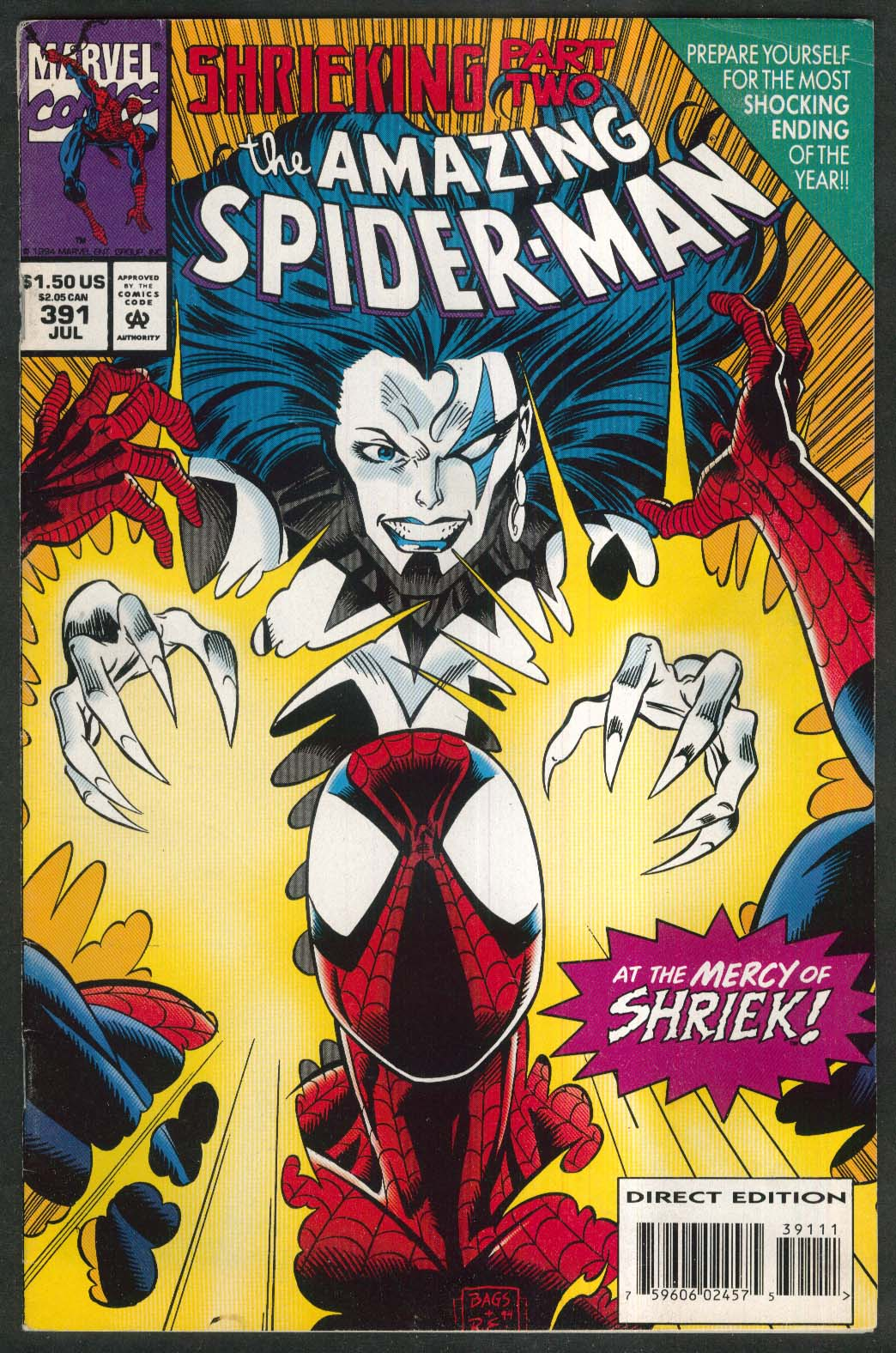 Image for AMAZING SPIDER-MAN #391 Marvel comic book 7 1994