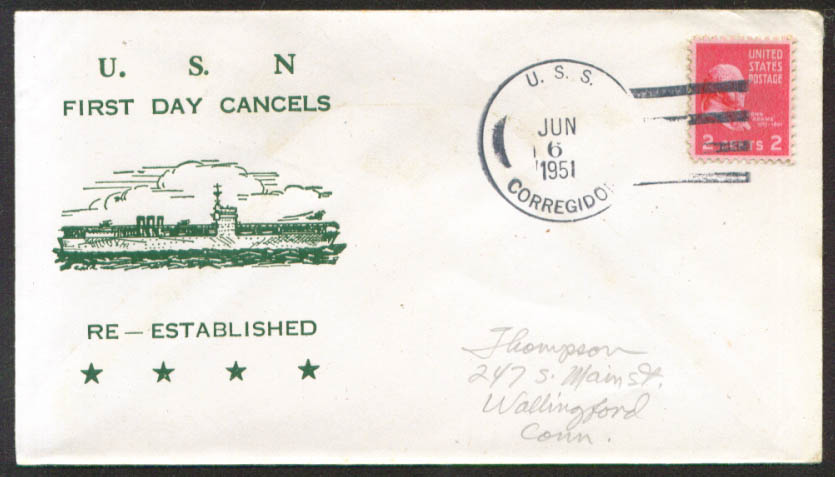 Image for USS Corregidor CVE-58 1st Day Re-Commission cover 1951