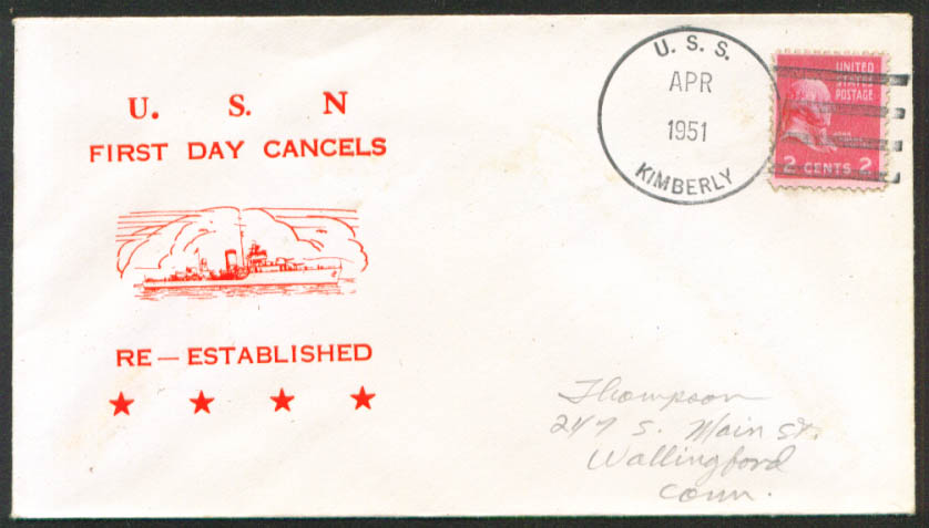 Image for USS Kimberly DD-521 1st Day Re-Commission cover 1951
