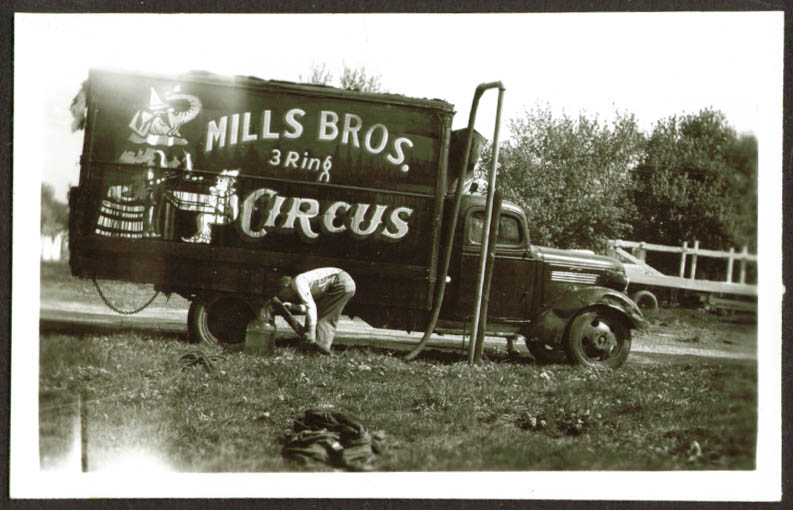 Image for Water truck Mills Bros Circus photo Frankfort IN 1948