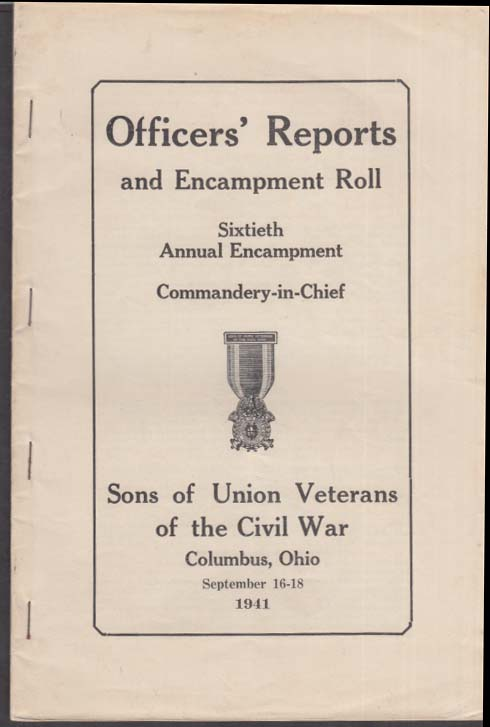 Image for Sons of Union Veterans Civil War Officers Reports 60th Encampment Roll 1941