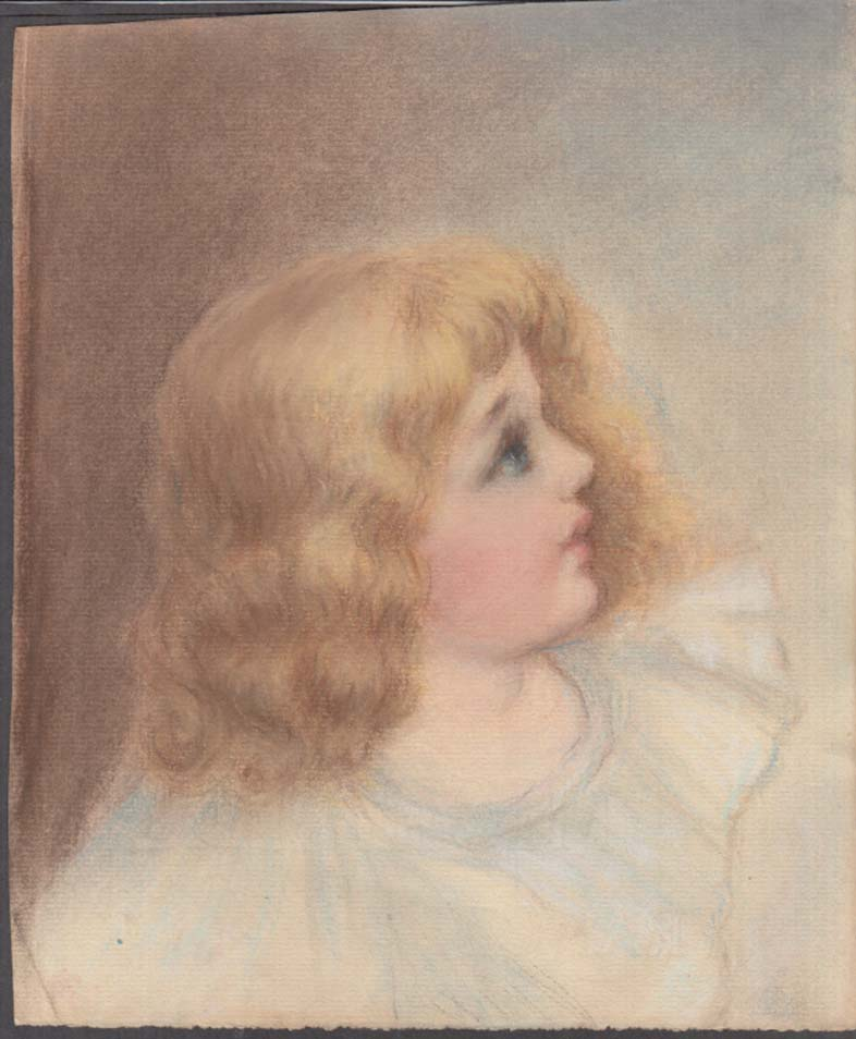 Image for Louise Marvin pastel drawing little blonde girl ca 1908