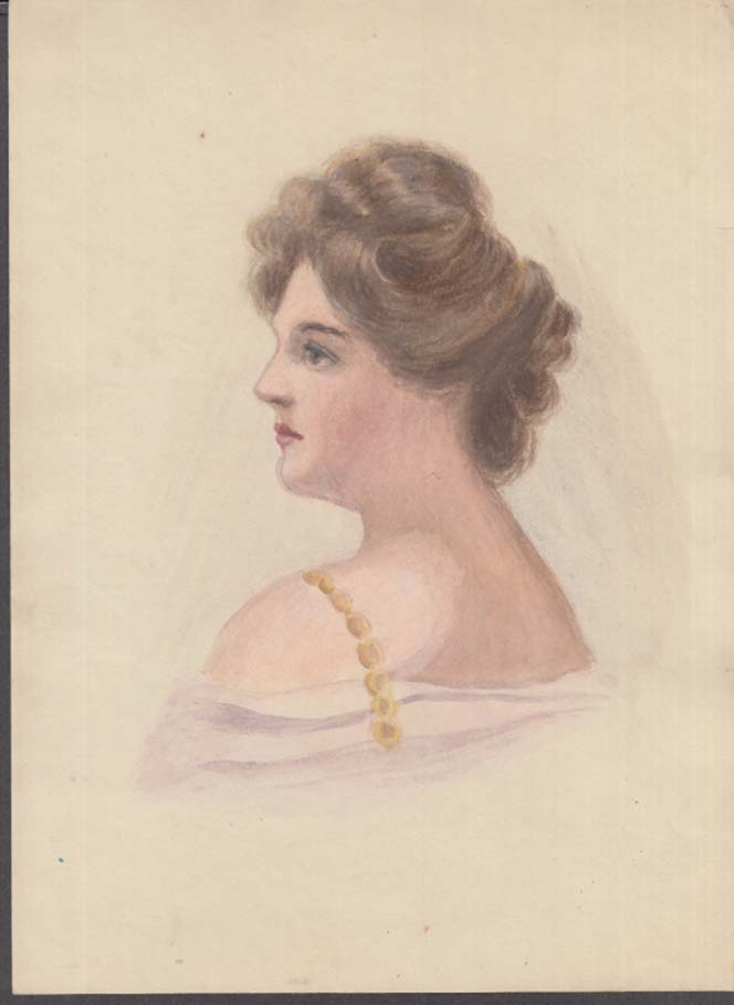 Image for Louise Marvin watercolor of young woman in profile ca 1908