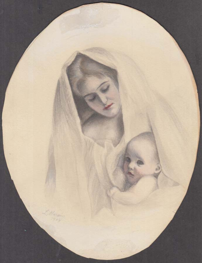 Image for Louise Marvin pencil & pastel drawing of mother & child 1908