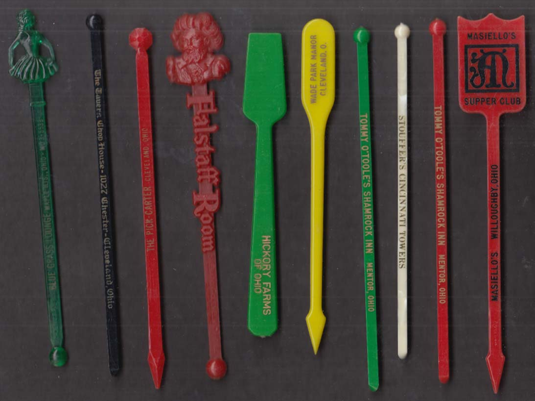 Image for 10 Ohio restaurant swizzle sticks Cleveland Willoughby Mentor Cinciinati +