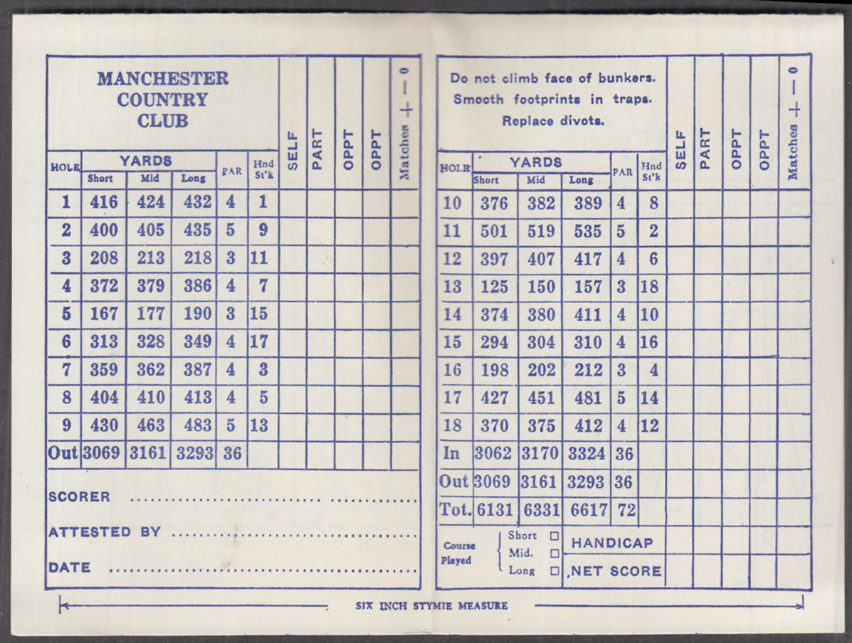 Image for Manchester Country Club New Hampshire unused golf scorecard ca 1950s