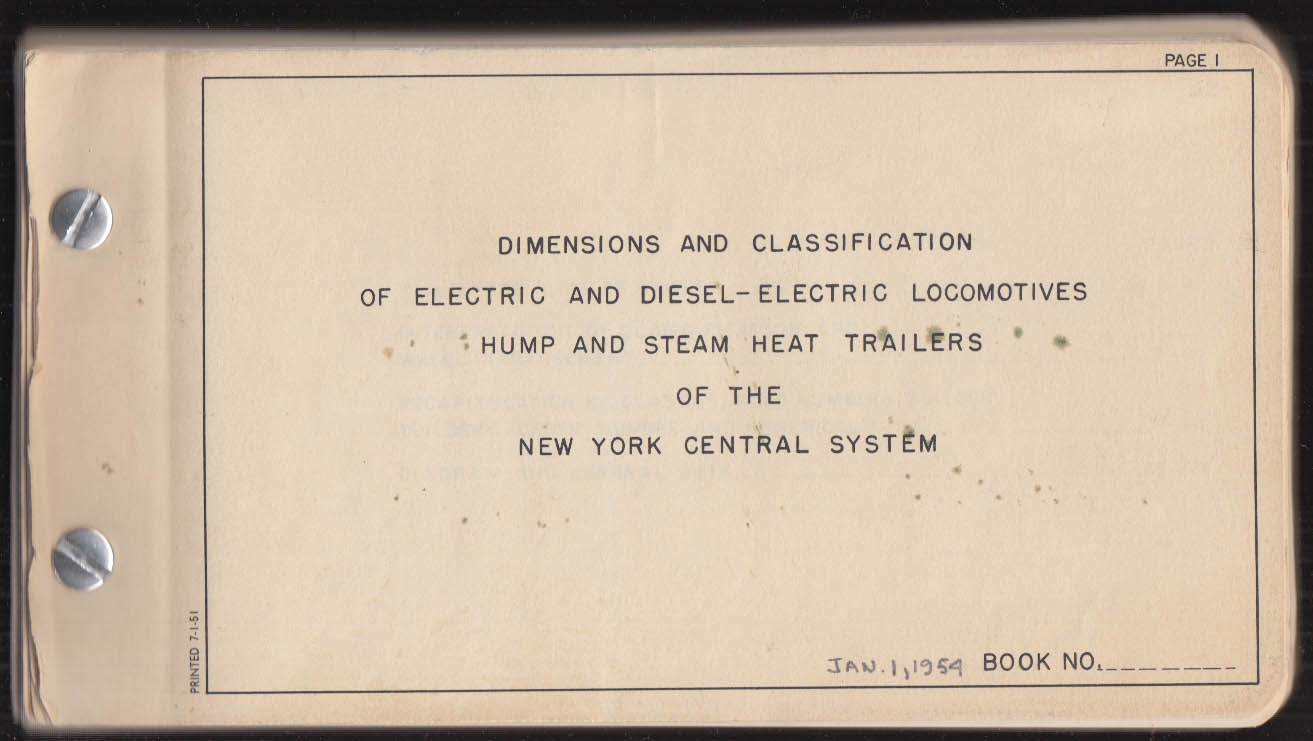 Image for New York Central RR Electric & Diesel-Electric Locomotives Dimensions 1954