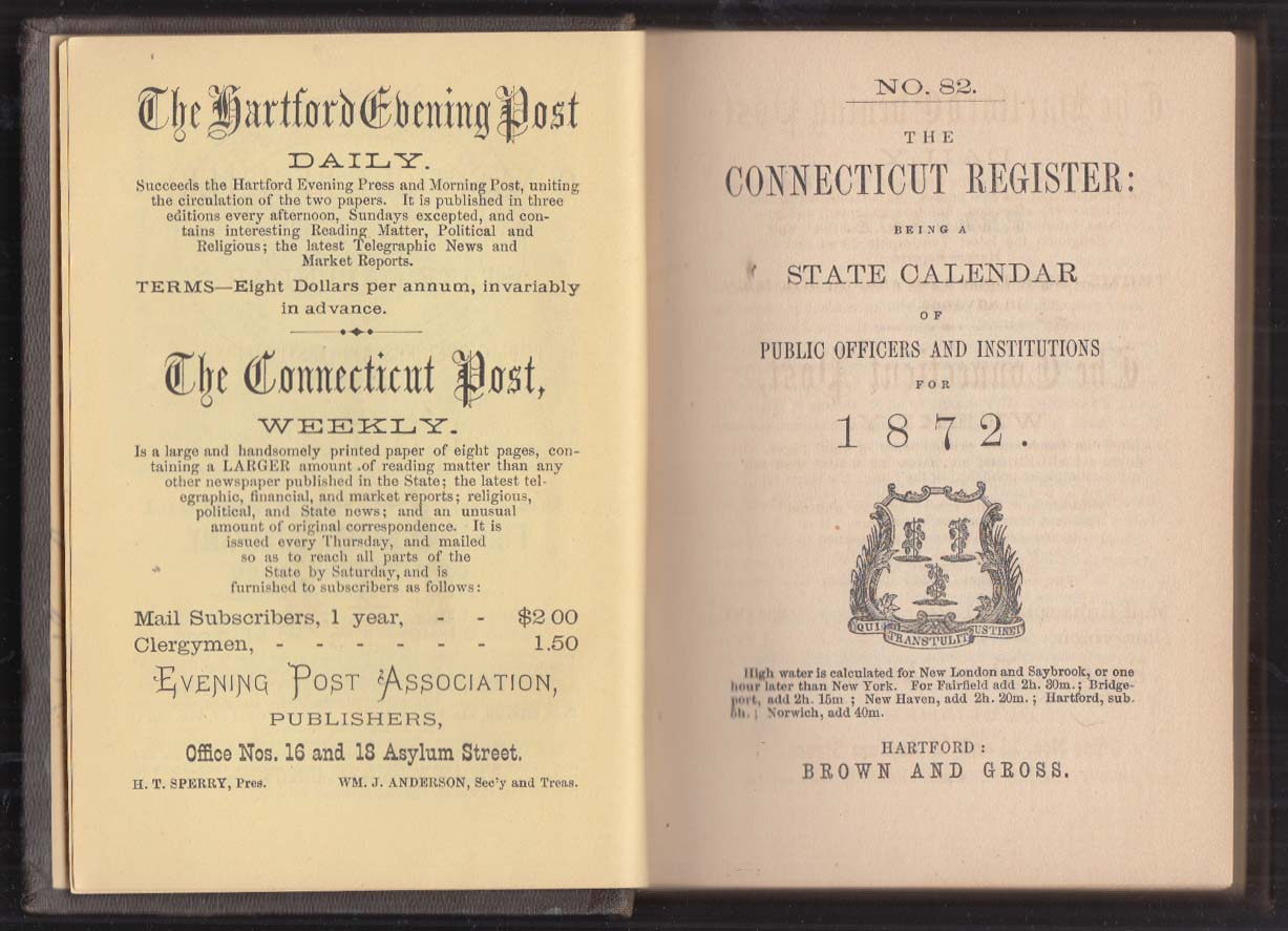 Image for The Conncticut Register & State Calendar 1872 w/ local ads