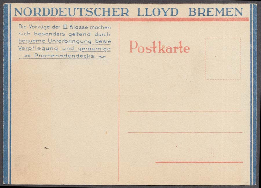 Image for Norddeutscher Lloyd Bremen S S Columbus Breakfast Menu postcard 6/18 1927