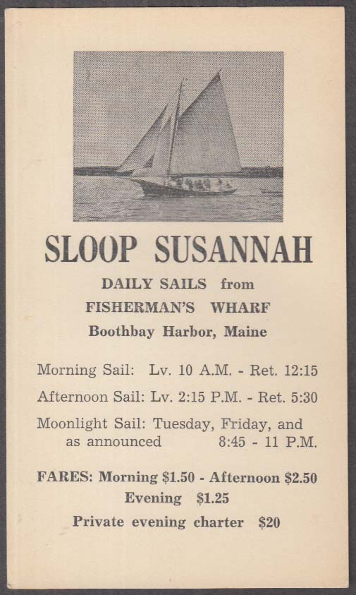Image for Sloop Susannah card Fisherman's Wharf Boothbay Harbor ME ca 1950s