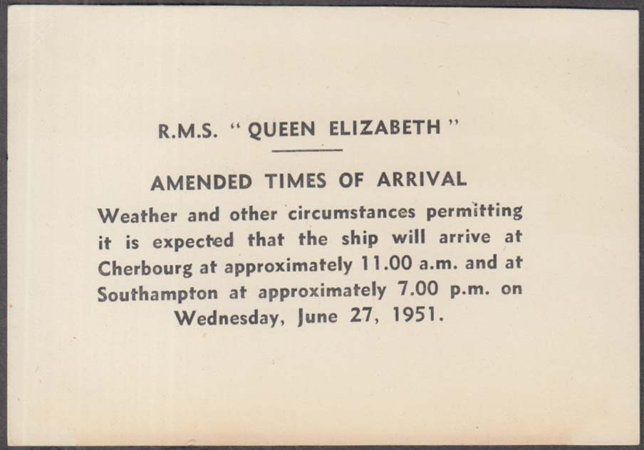 Image for Cunard Line R M S Queen Elizabeth Amended Times of Arrival card 1951