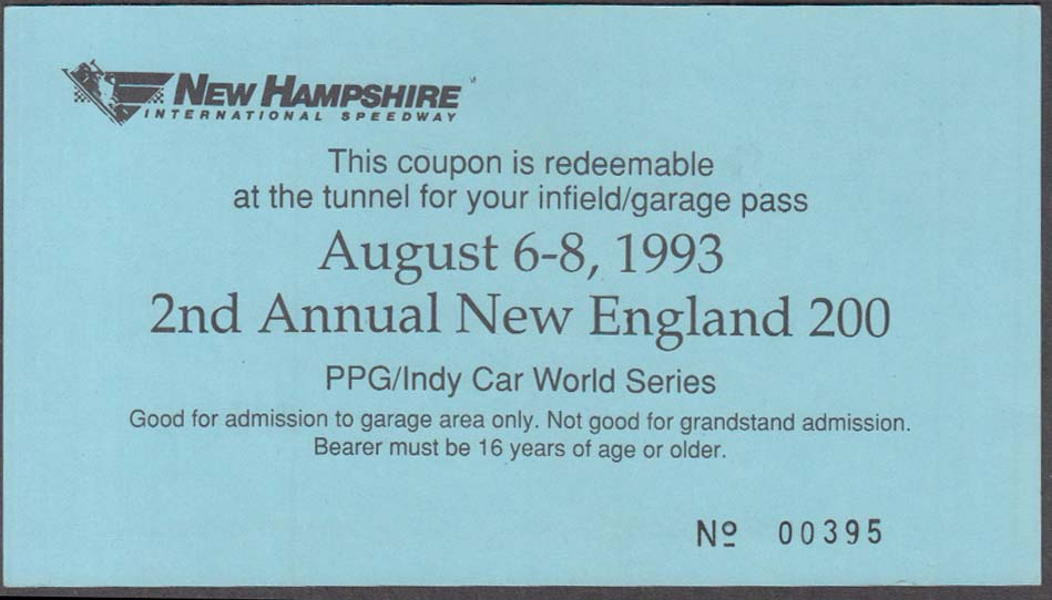 Image for New Hampshire International Speedway Indy Car New England 200 garage pass 1993