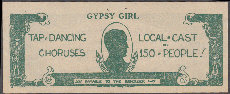 Image for Congregational Church Ladies Assn Gypsy Girl ticket 1934 South Coventry CT