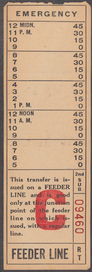 Image for Charleston Transit Company WV bus transfer Feeder Line C undated