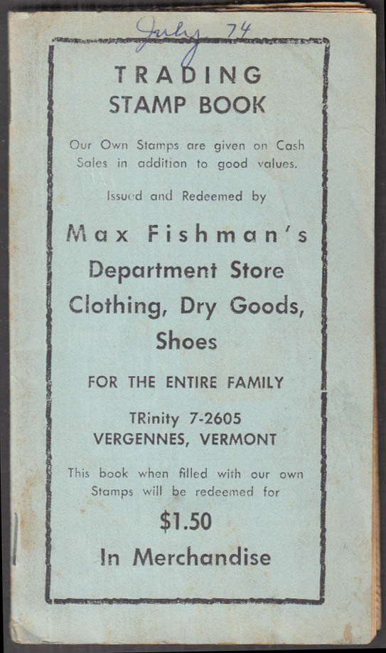 Image for Max Fishman's Department Store trading stamp book Vergennes VT