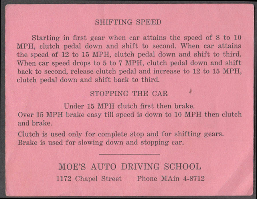 Image for Moe's Auto Driving School New Haven CT Manual Shifting & Stopping card 1950s