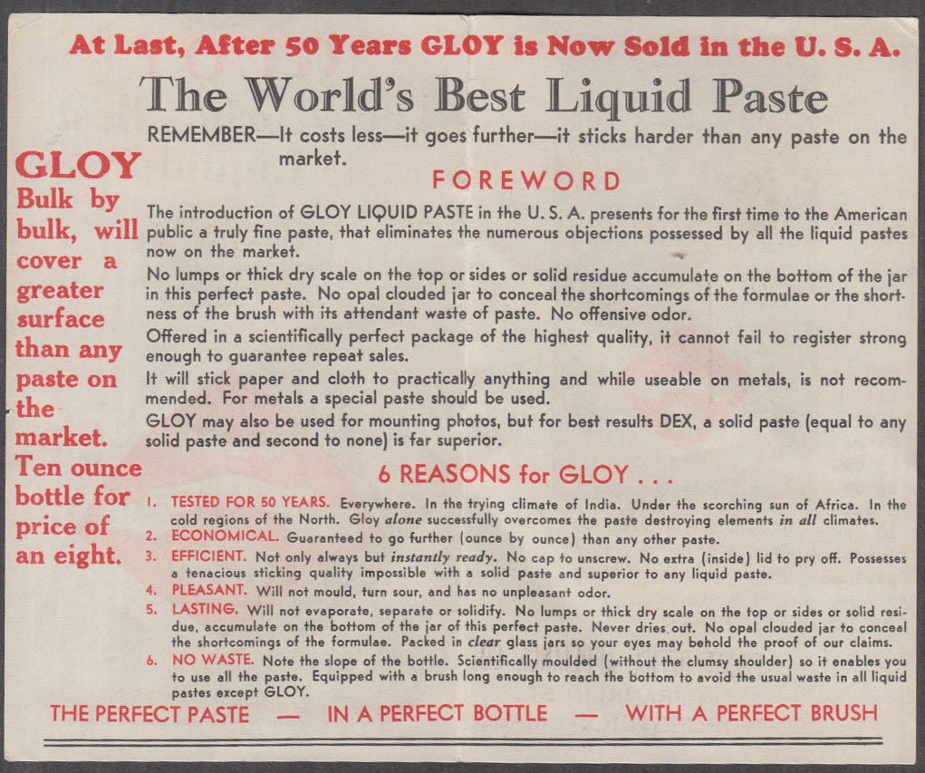 Image for Gloy The World's Best Liquid Paste sales folder ca 1920s