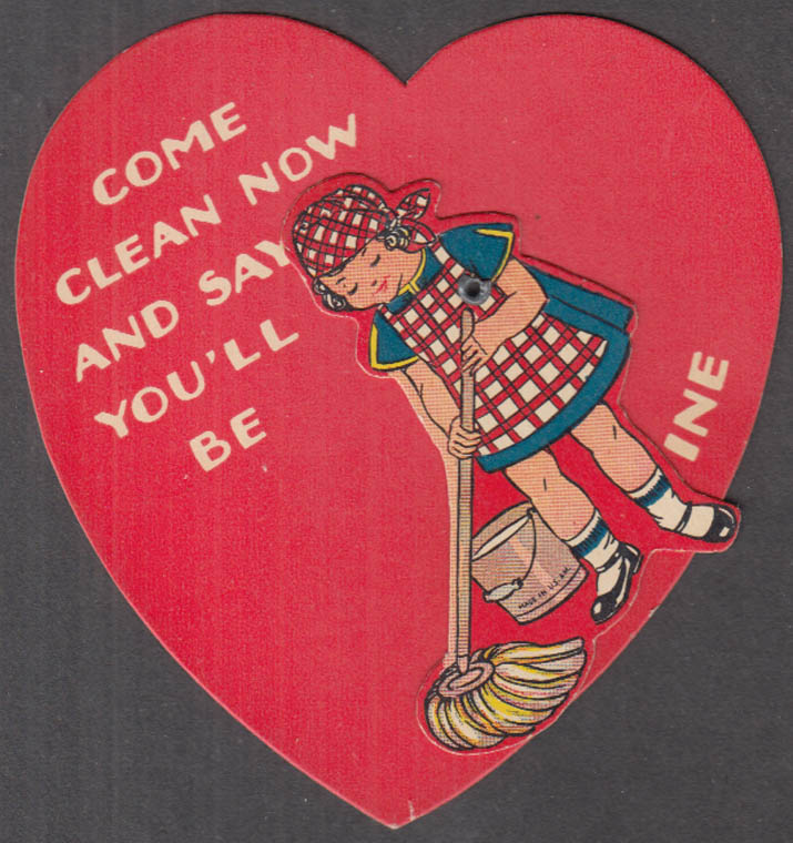 Image for Come Clean Now & Say You;ll Be My Valentine mechanical card ca 1950s