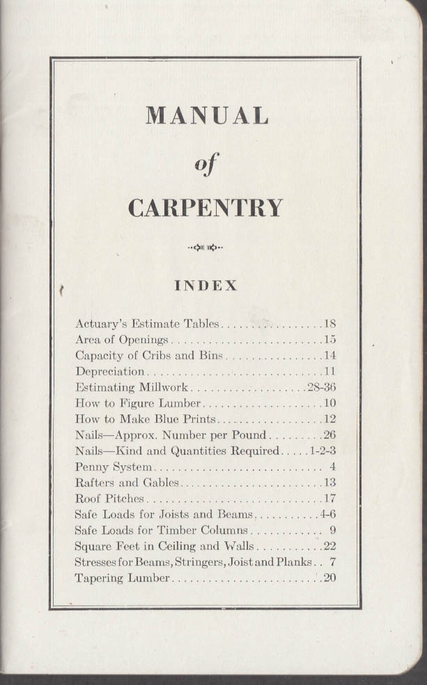 Image for American Steel & Wire Company Manual of Carpentry ca 1940s