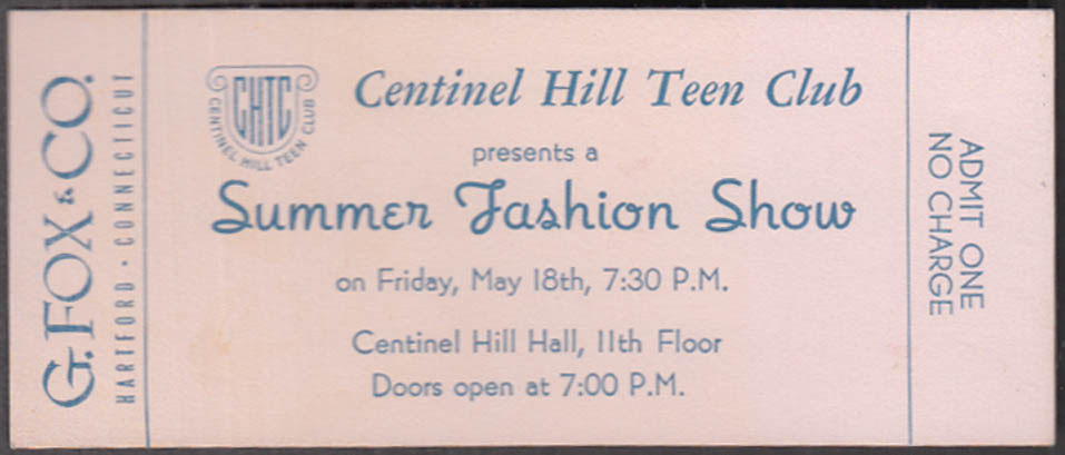 Image for Centinel Hill Teen Club Summer Fashion Show ticket G Fox Hartford 1949