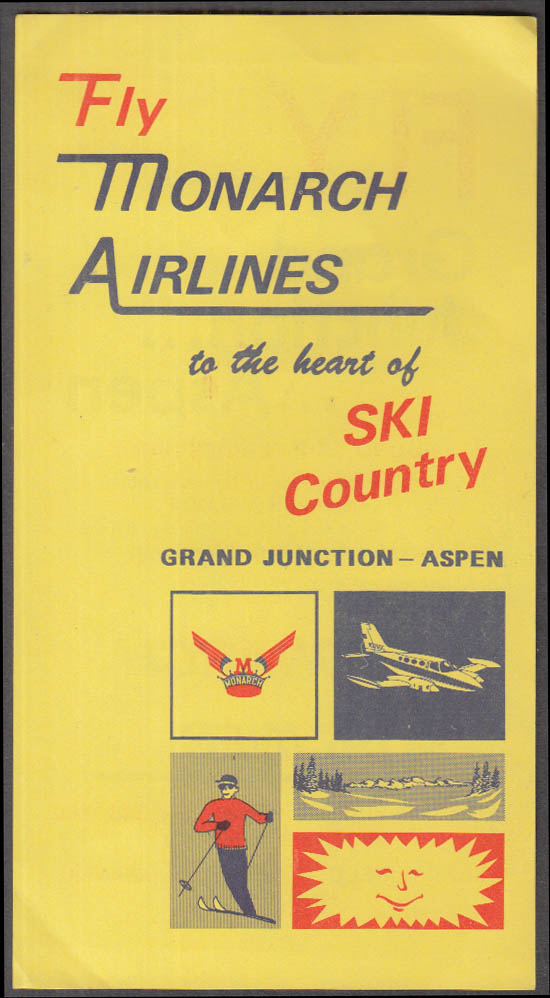 Image for Fly Monarch Airlines to Grand Junction Aspen Ski Country flier 1980s