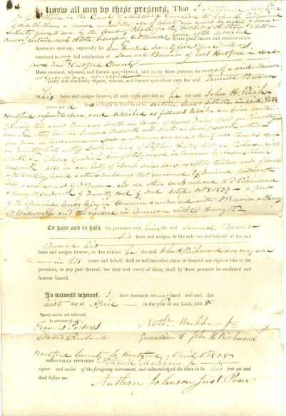 Image for 1822 deed Nathaniel Markham-Samuel Brewer CT