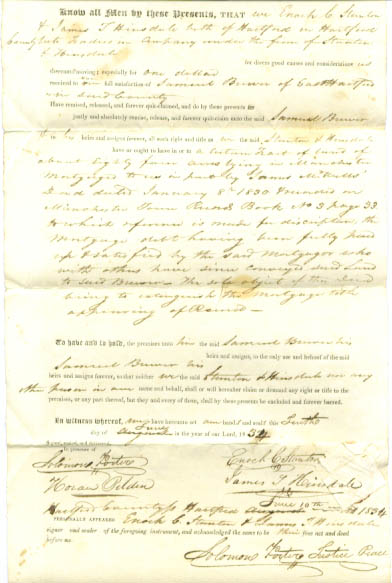 Image for 1834 deed Enoch Stanton-Samuel Brewer CT