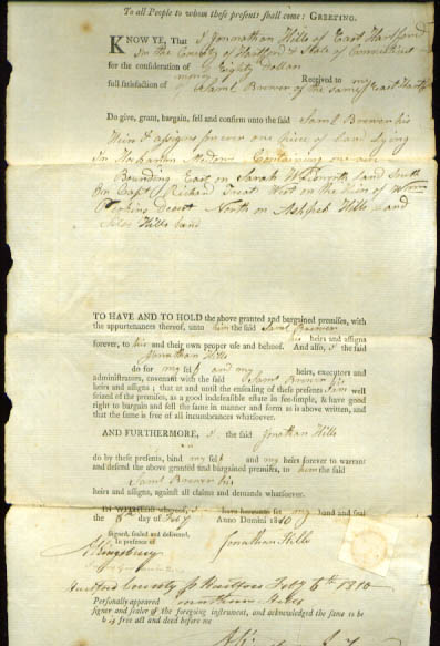 Image for 1810 deed Jonathan Hills-Samuel Brewer CT