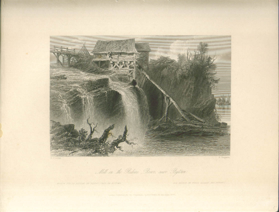 Image for Rideau River Mill Bytown ON Bartlett engraving 1841