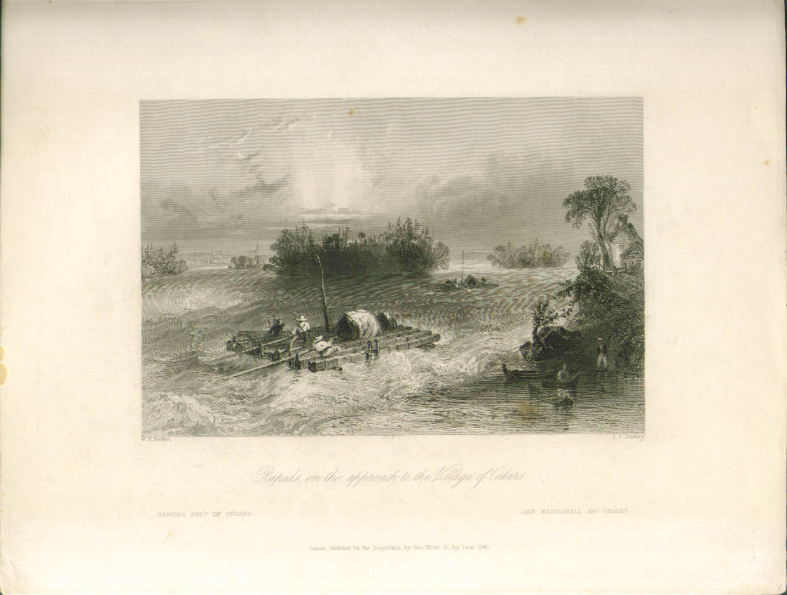 Image for Rapids near Village of Cedars ON Bartlett engraving 1840