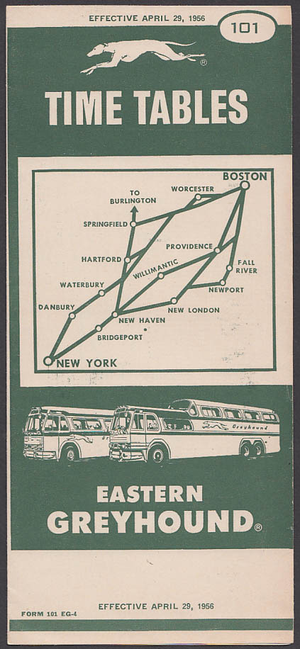Image for Eastern Greyhound Bus Time Tables 4/29/1956