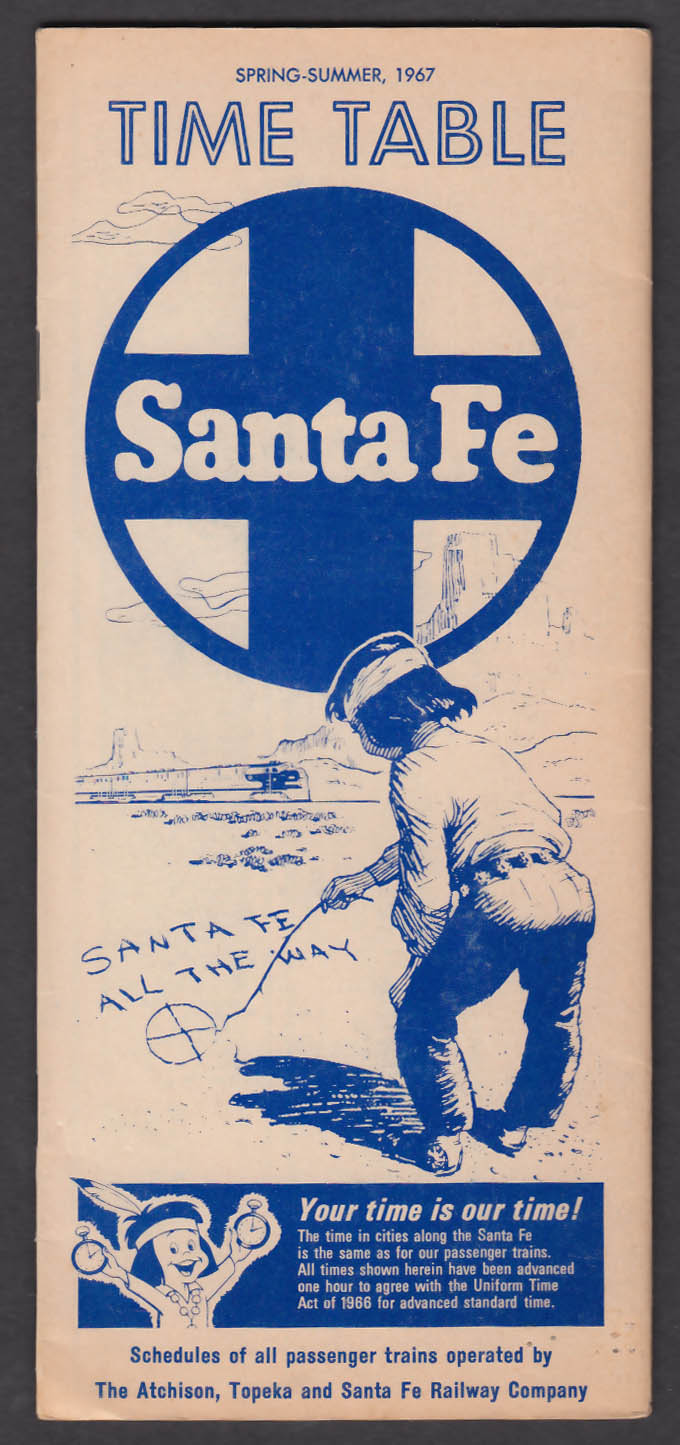 Image for Santa Fe Railroad Time Table Spring-Summer 1967