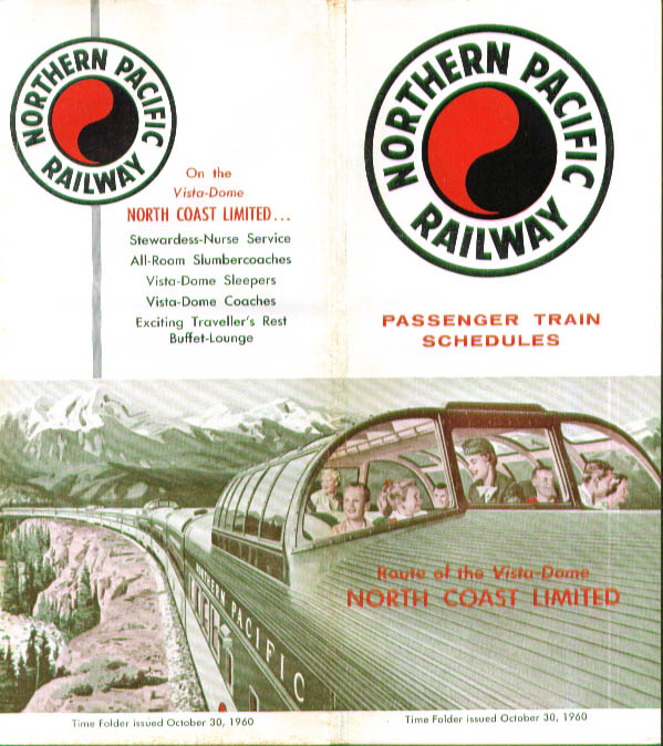 Image for Northern Pacific Railway Time Tables 10/30/1960