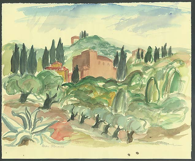"Image for Frank ? Ackerman original watercolor ""Near Florence"""