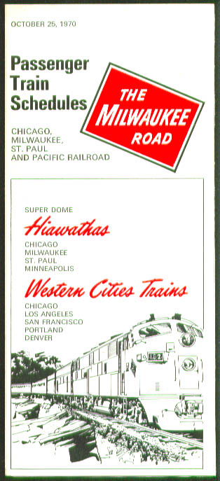 Image for Milwaukee Road Passenger Timetables 1970