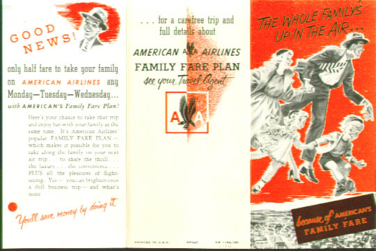 Image for American Airlines Family Fare Plan folder 1954