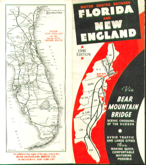 Image for Routes between Florida & New England via Bear Mountain Bridge road map 1940