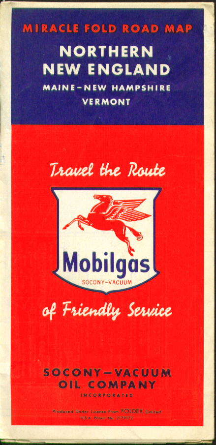 Image for Mobilgas Road Map Northern New England Maine New Hampshire Vermont 1952
