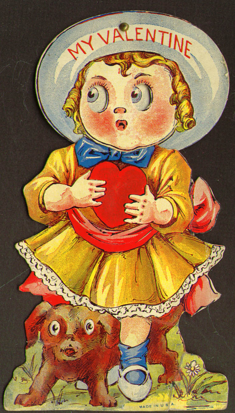 Image for Curly top girl & puppy moveable head stand-up Valentine 1910s