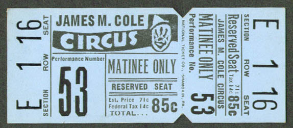 Image for James M Cole Circus Matinee Reserved Seat ticket