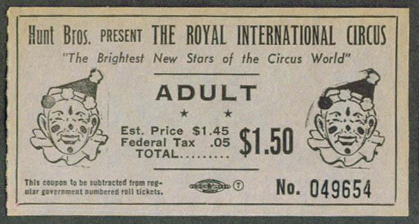 Image for Hunt Bros Royal International Circus adult ticket