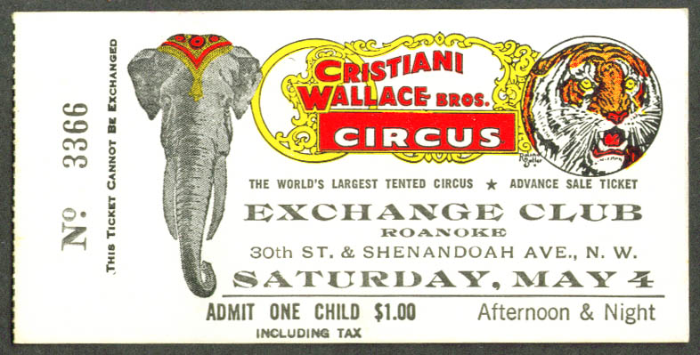 Image for Cristiani Wallace Circus Child Ticket Roanoke VA