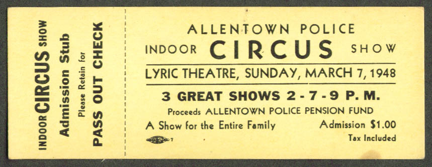 Image for Allentown Police Indoor Circus Ticket PA 1948