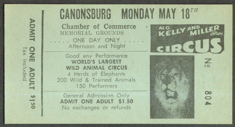 Image for Al G Kelly & Miller Bros Circus ticket Canonsburg PA