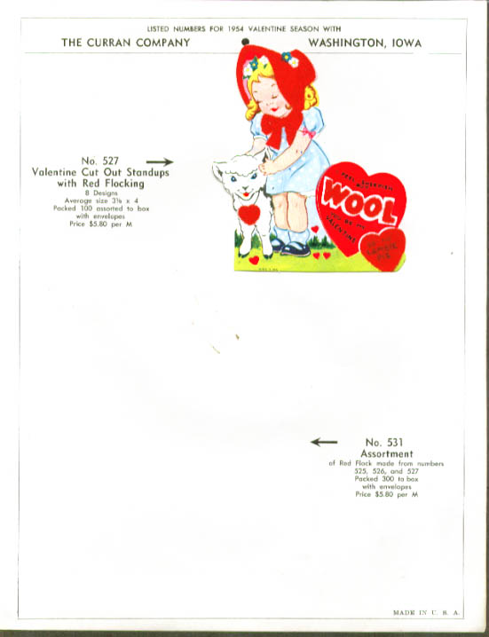Image for 4 flocked Valentine cards 1950s including sell sheet