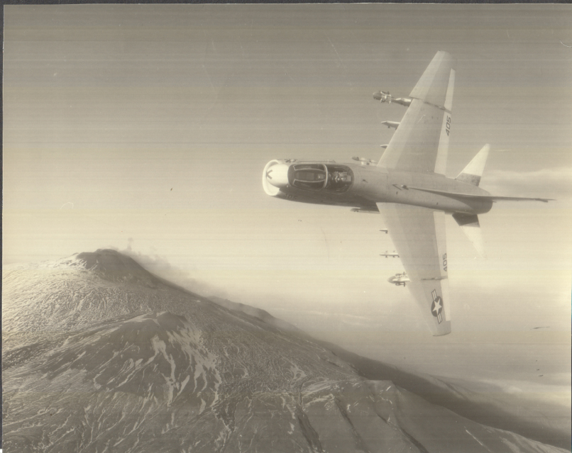 Image for Ling-Temco-Vought A-7 Corsair III #405 banking over mountains photo 1970s