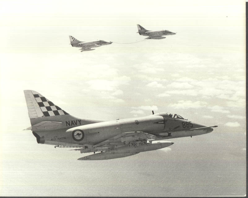 Image for US Navy Douglas A-4G Skyhawk in-flight refuel ca 1974 Operation Kangaroo