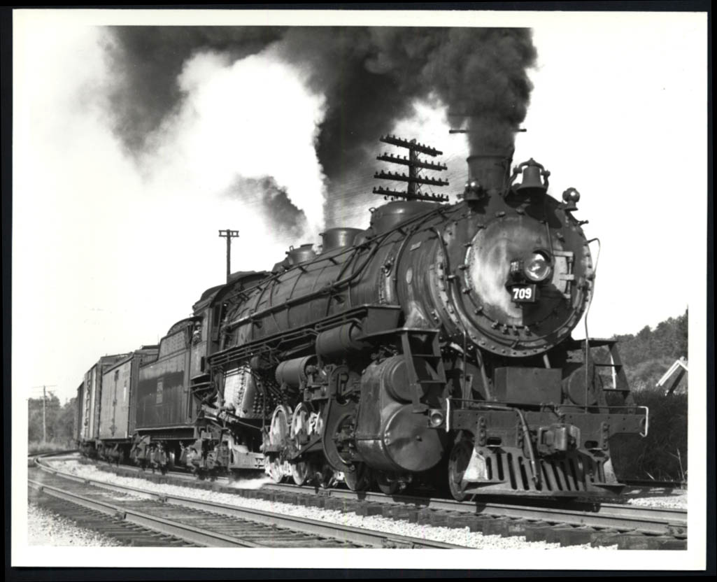 Image for Central of Georgia RR 4-8-2 #709 head a freight train at Irondale AL photo 1948