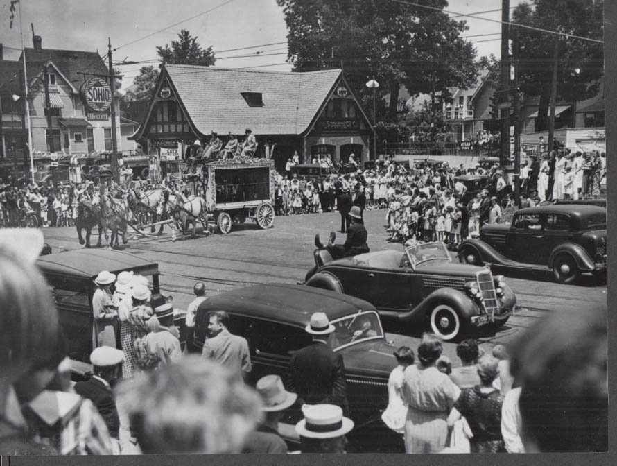 Image for Cole Bros Circus Clyde Beatty Animal Wagon in town parade photo 1930s Sohio