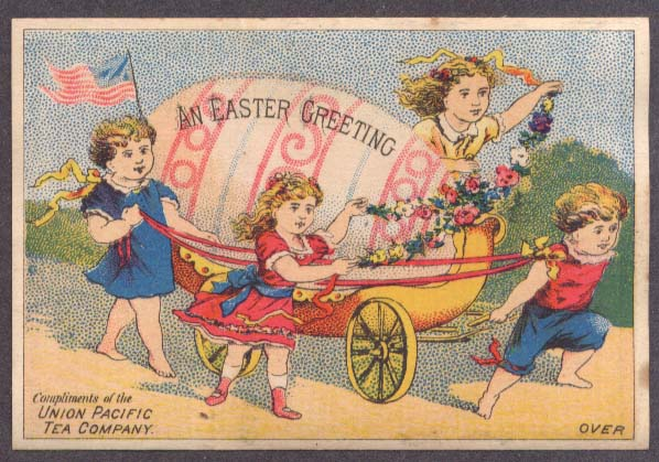 Image for Union Pacific Tea Easter Greeting trade card 4 girls & egg carriage 1880s